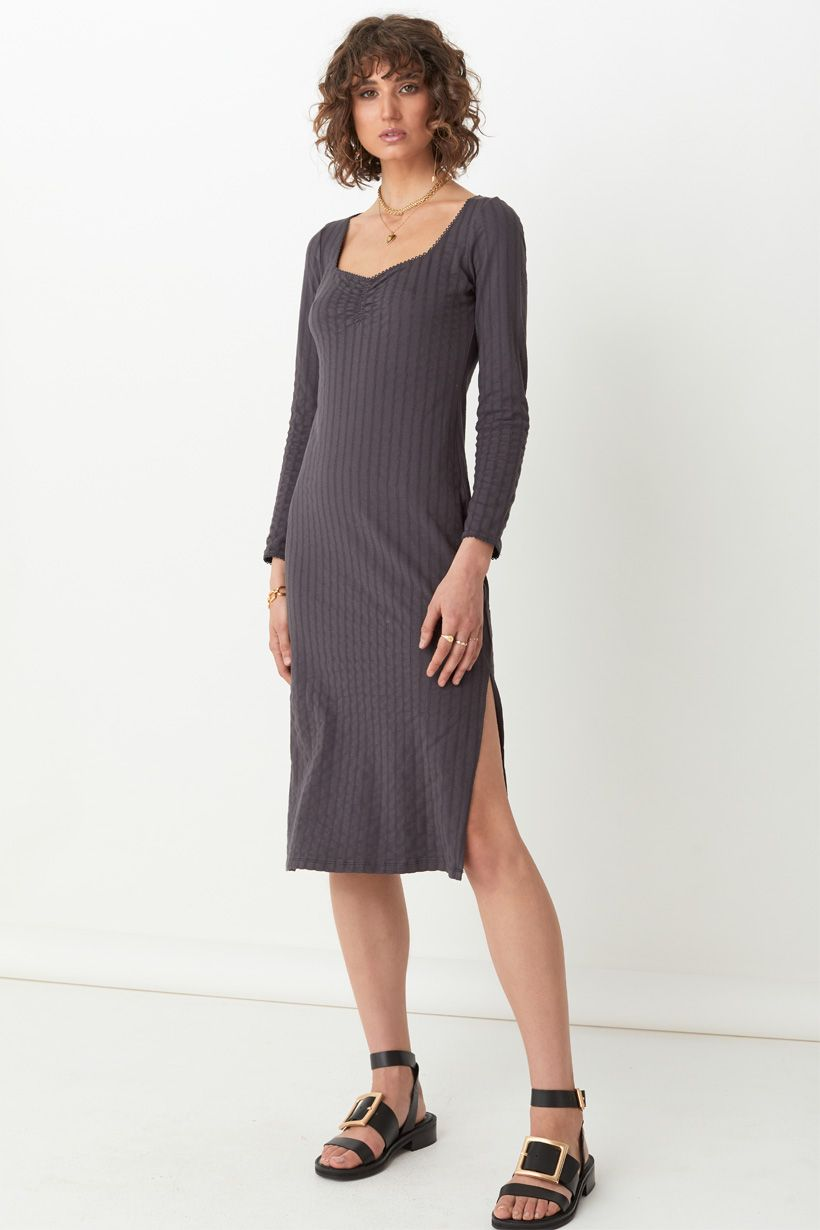 Bonnie Organic Rib Midi Dress - Charcoal