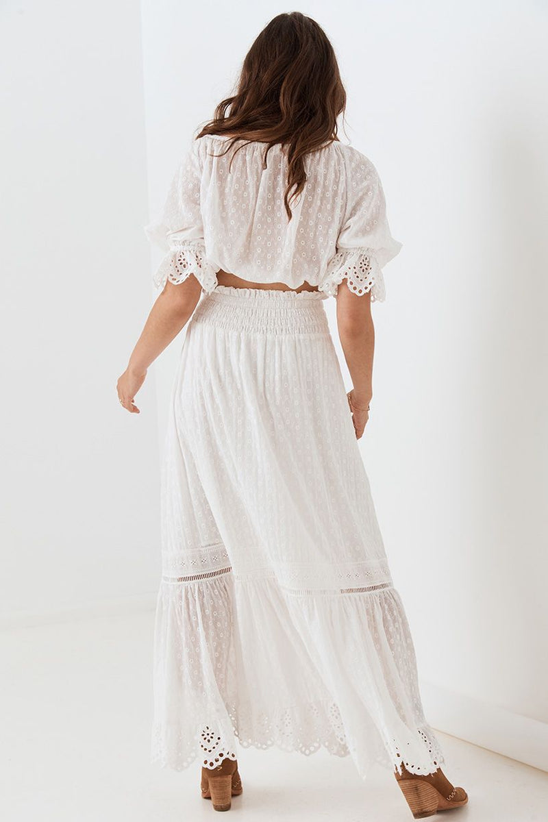 Daisy Chain Maxi Skirt - White (4529876598865)