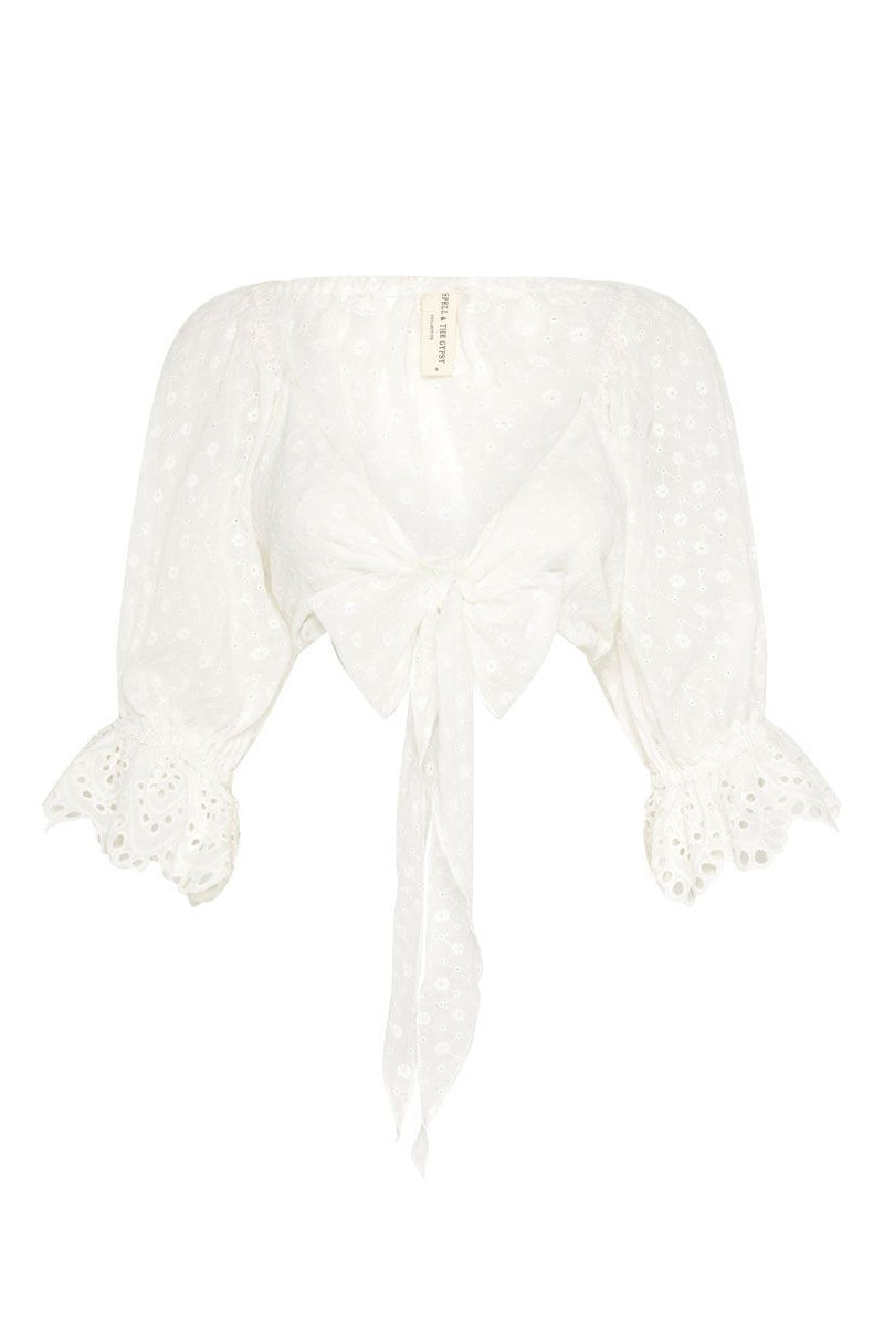 Daisy Chain Tie Top - White (4529880957009)