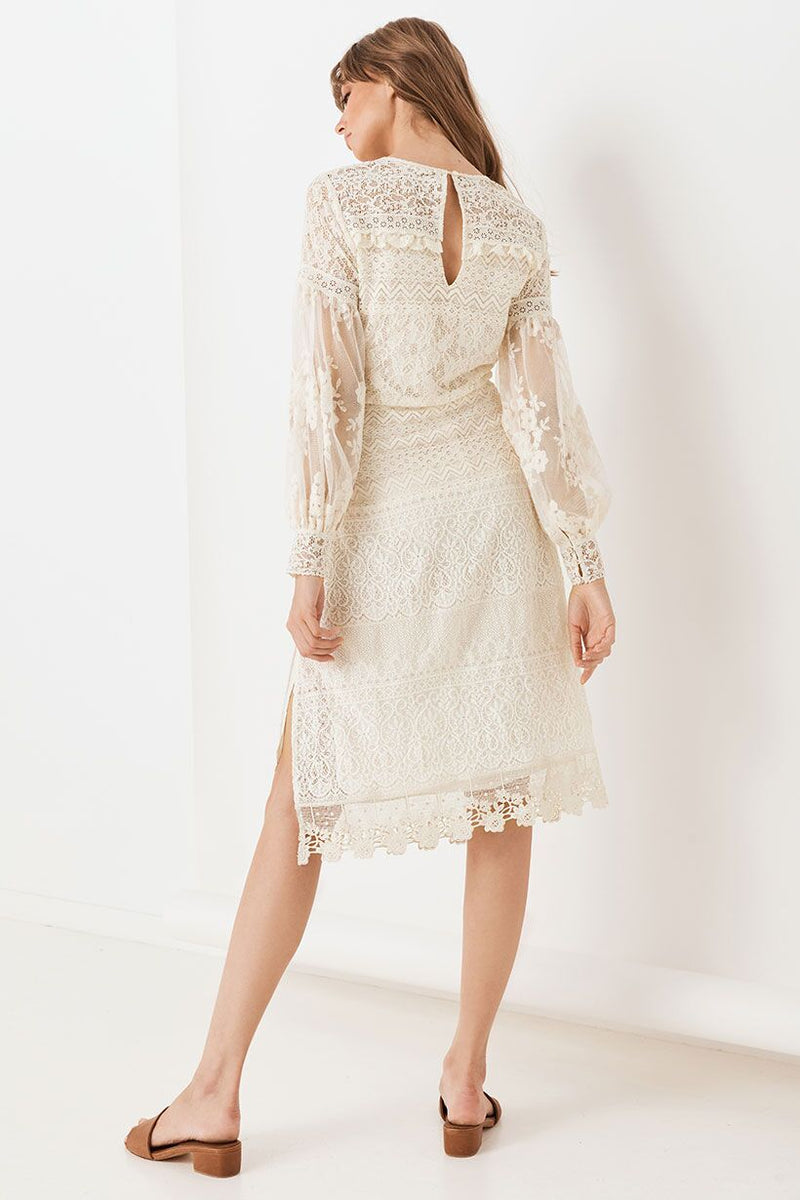 Dawn Lace Belted Midi Dress - Cream (3990310813760)