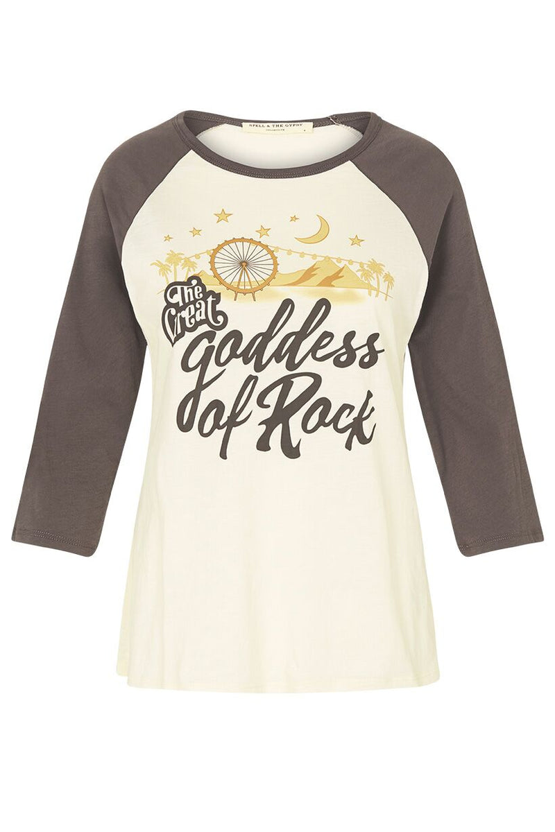 Goddess of Rock Organic Raglan - Bone