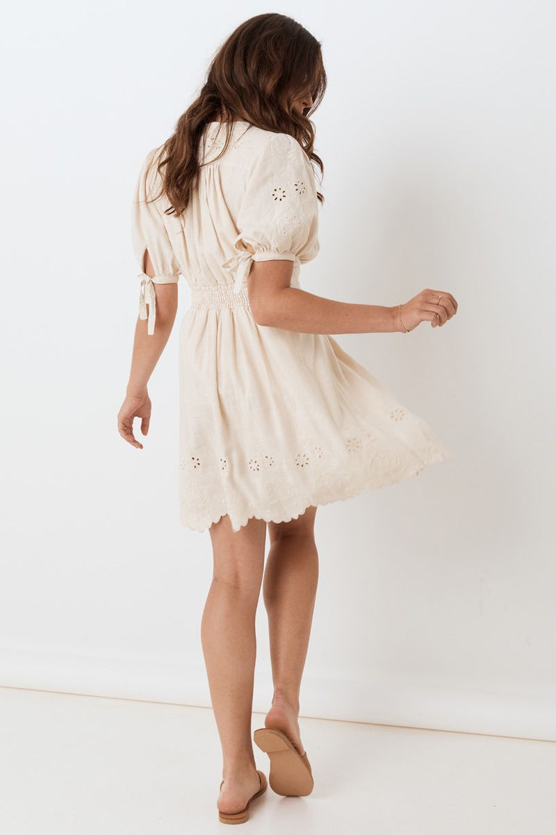 Imogen Embroidered Party Dress - Cream