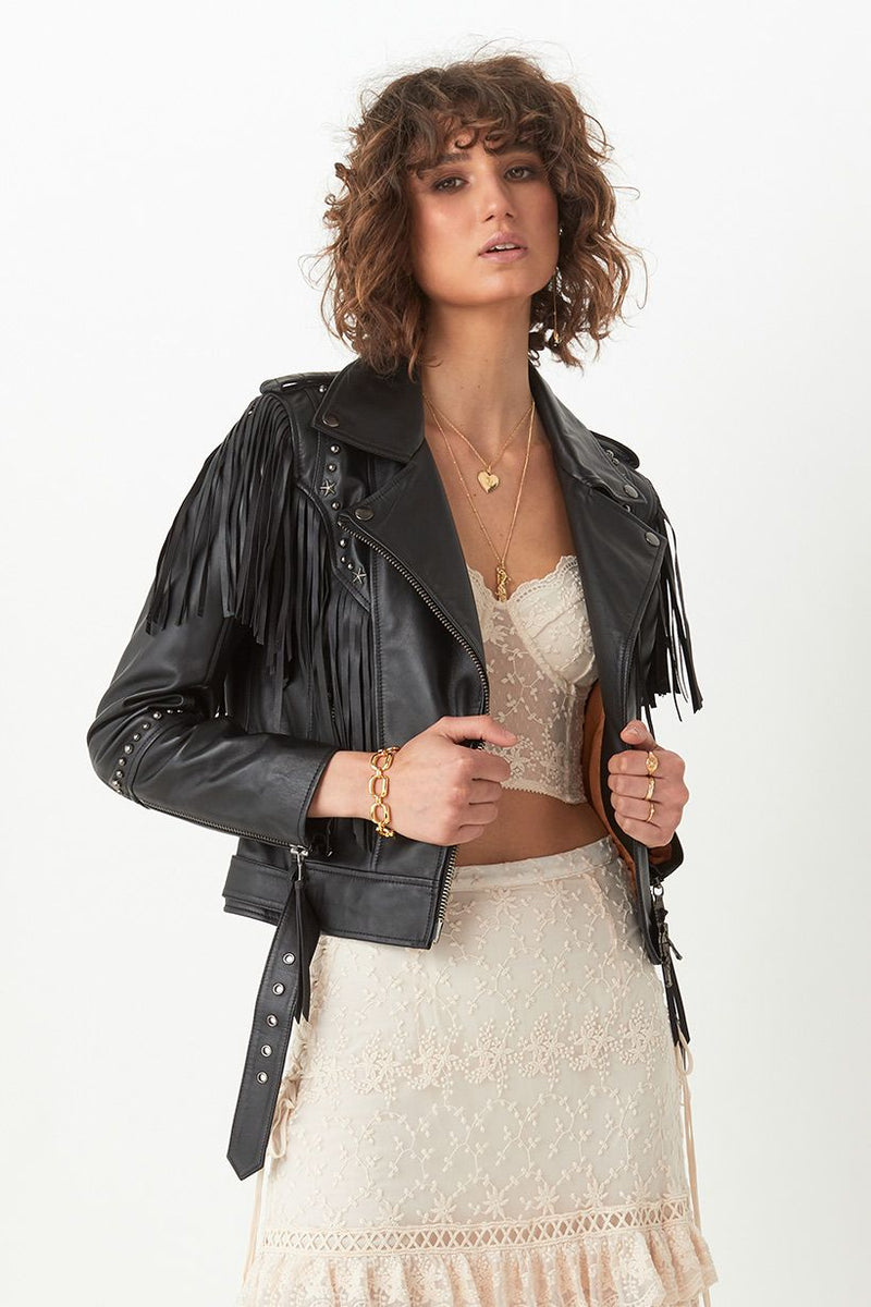 Teadora Leather Jacket - Black