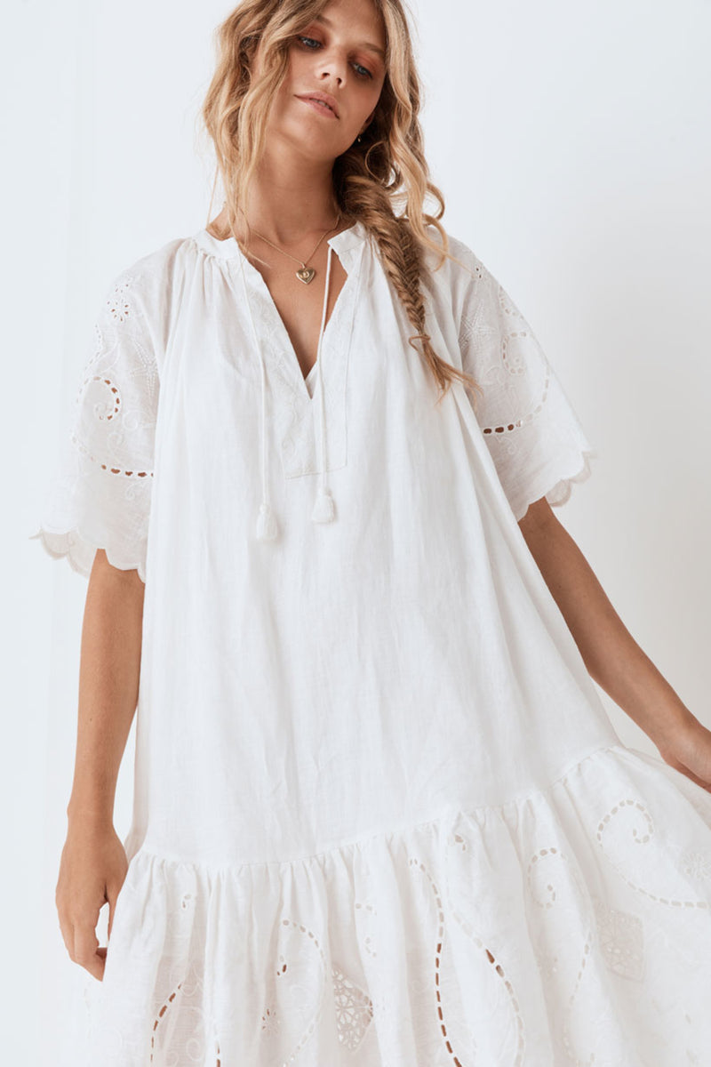 Lala Linen House Dress - White (4354631860305)
