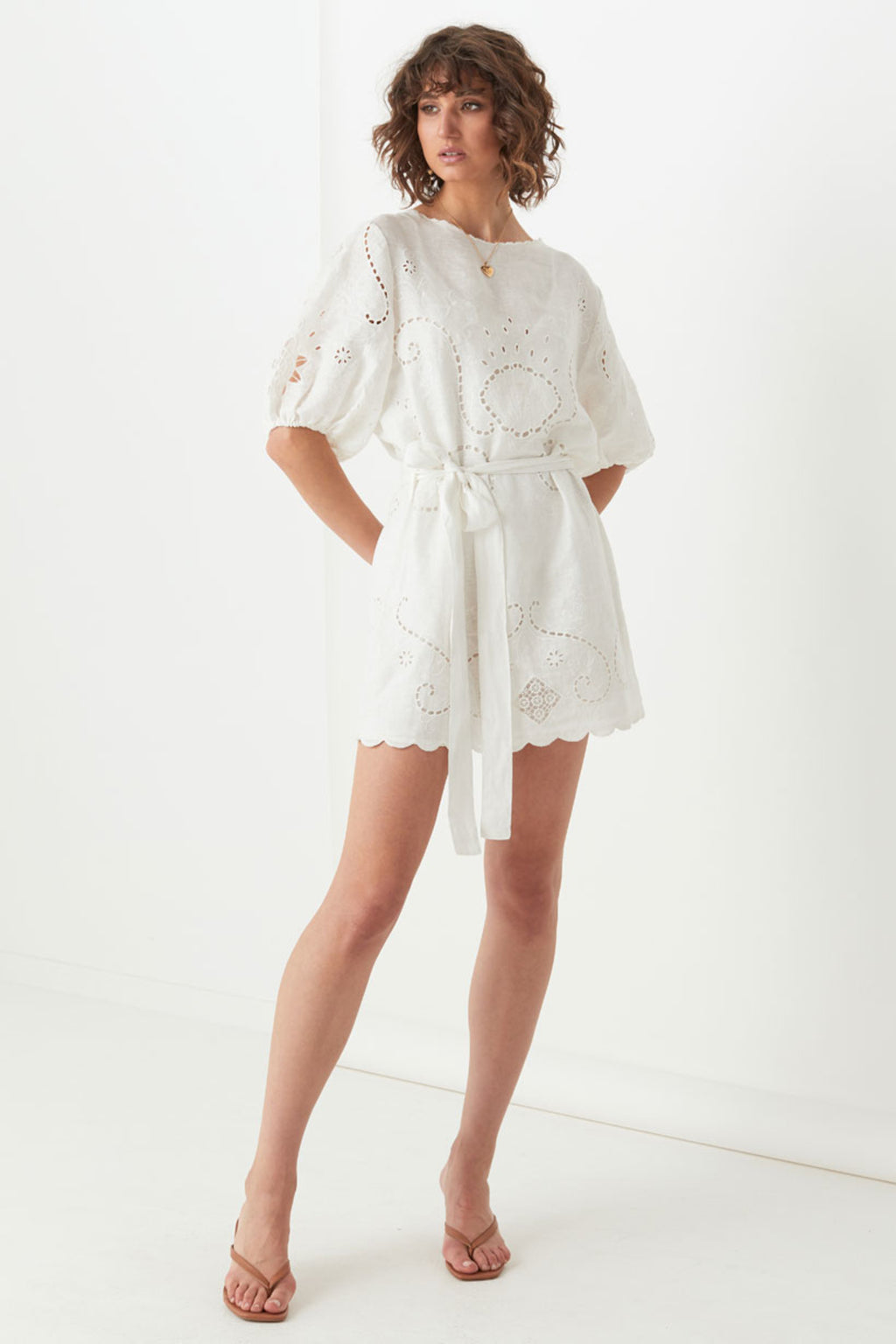 Lala Linen Shift Dress - White (4354646016081)