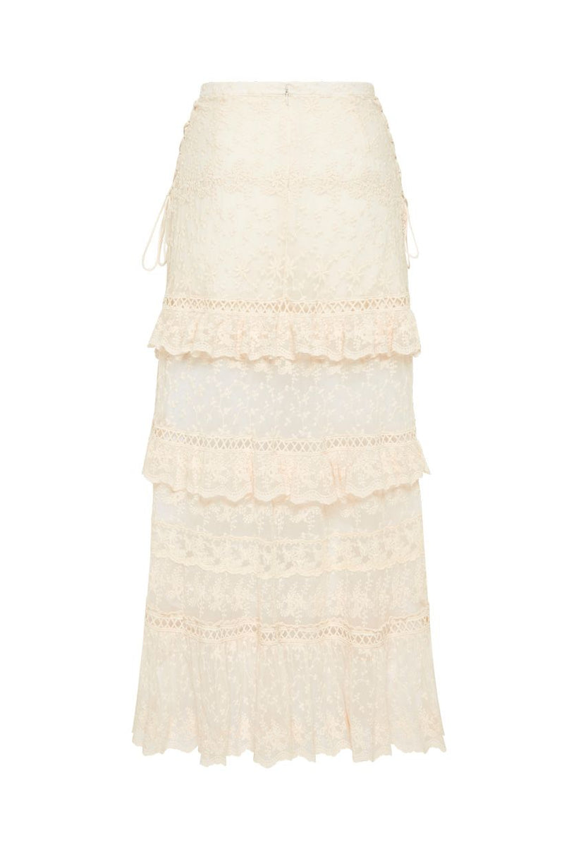Le Gauze Lace Tiered Skirt - Off White