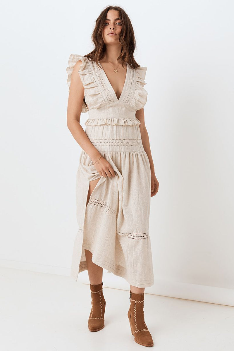 Lola Frill Maxi Dress - Biscuit (4503942496337)