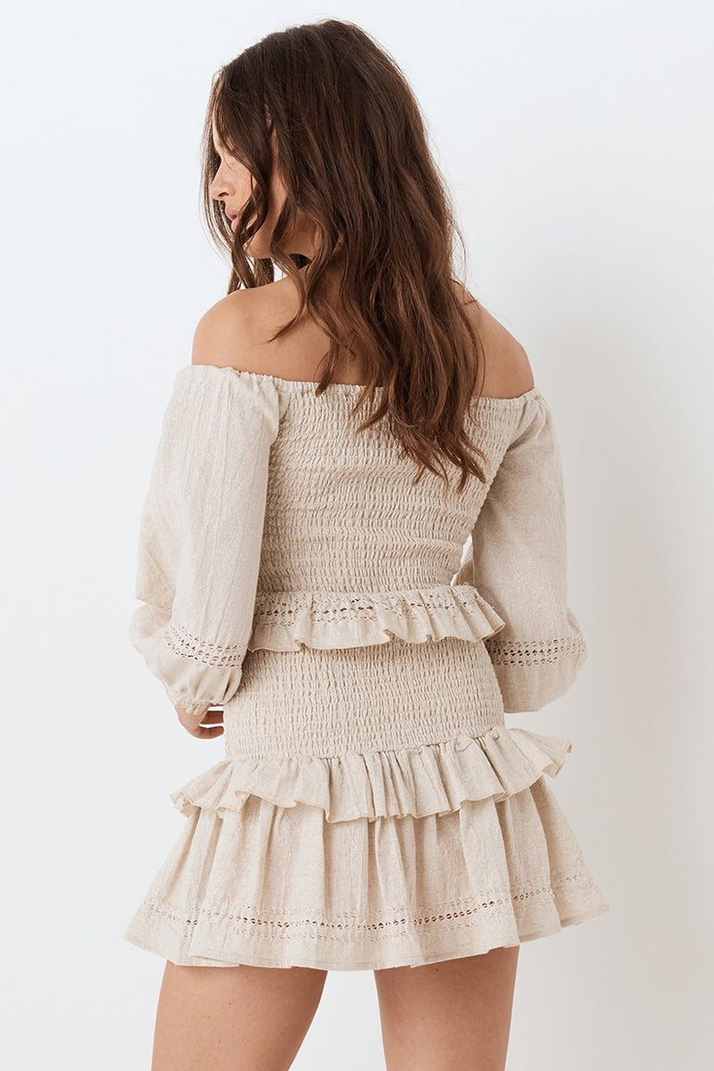 Lola Off the Shoulder Top - Biscuit (4503968841809)