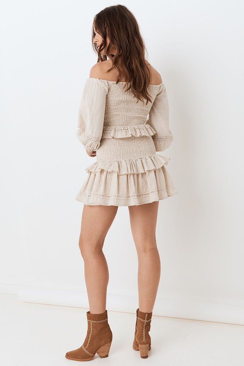 Lola Ruched Mini Skirt - Biscuit (4503967498321)