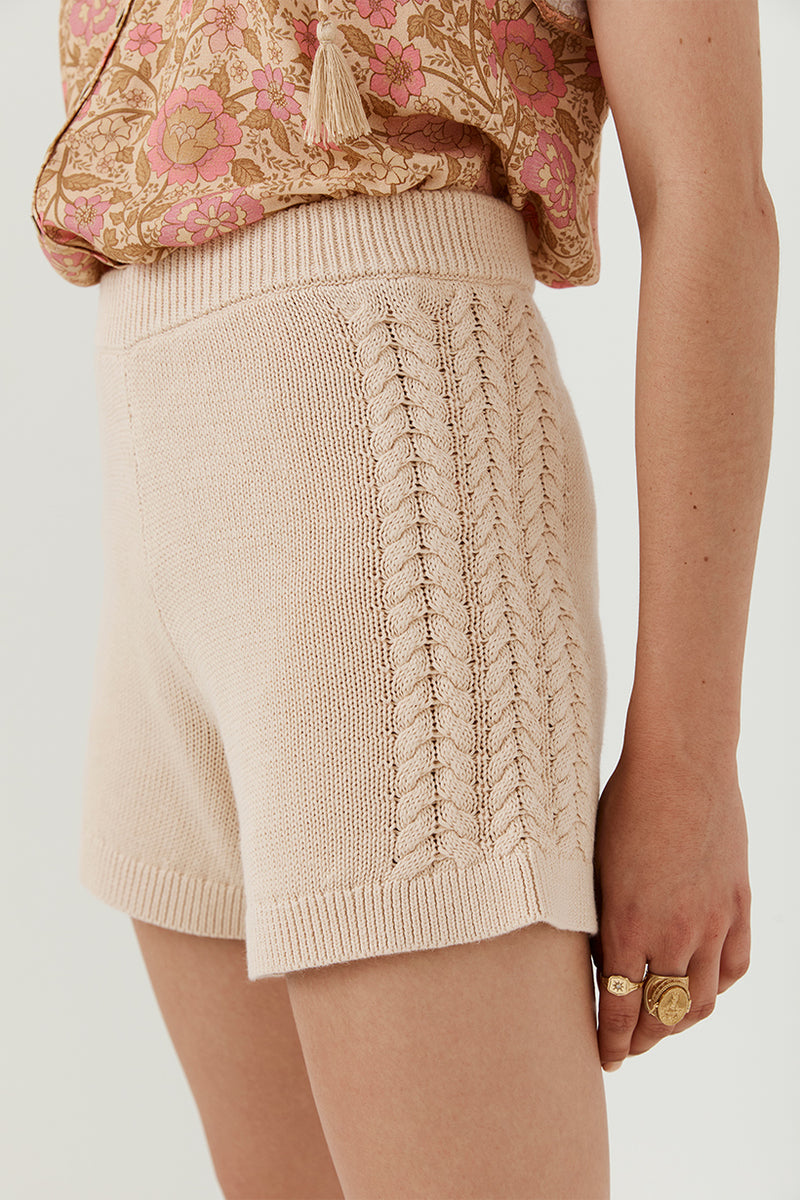 Chloe Knit Shorts - Stone