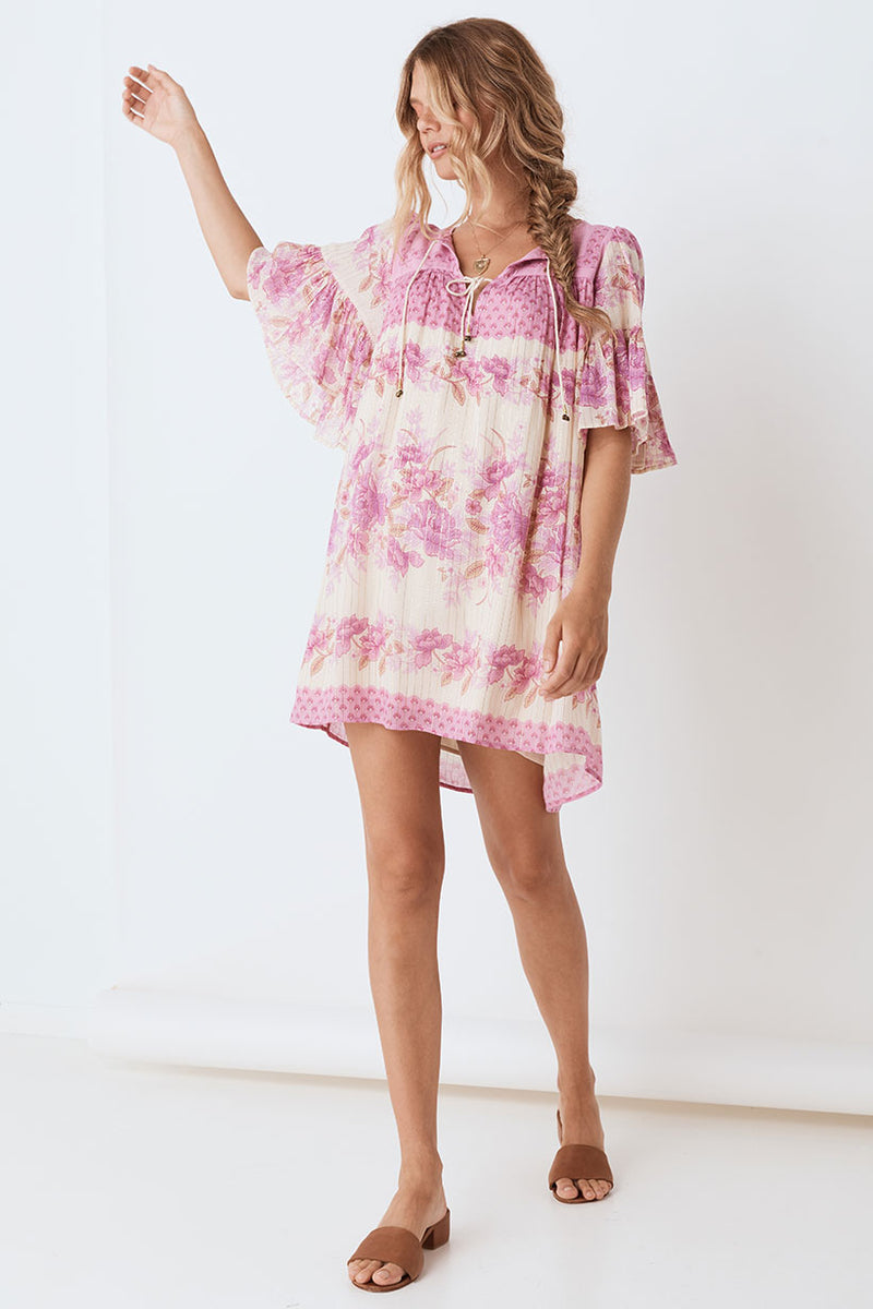 Coco Lei Flutter Sleeve Tunic Dress - Lilac (4385605025873)