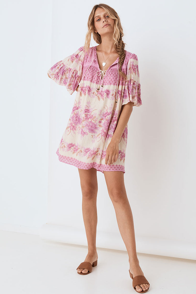 Coco Lei Flutter Sleeve Tunic Dress - Lilac