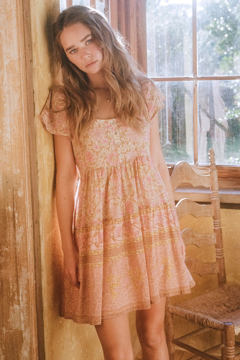 Love Story Babydoll Mini Dress - Peach Blossom