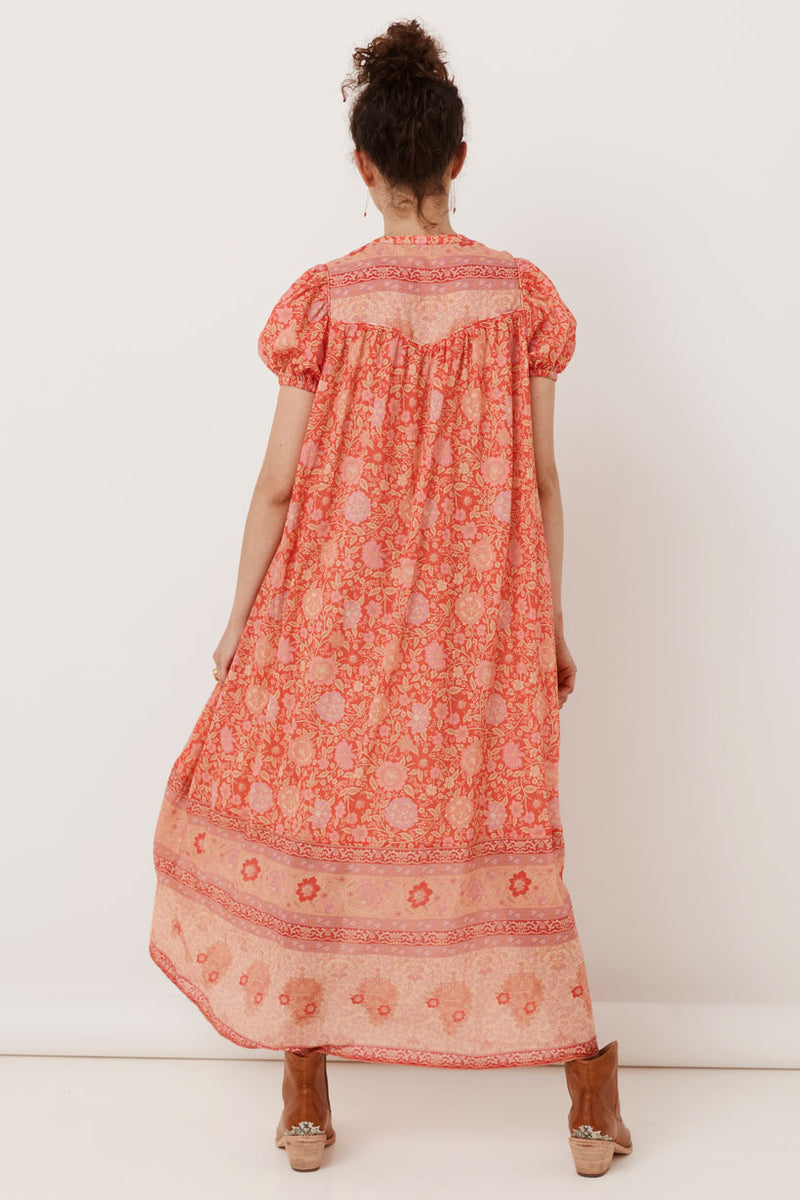 Love Story Short Sleeve Boho Dress - Red Coral