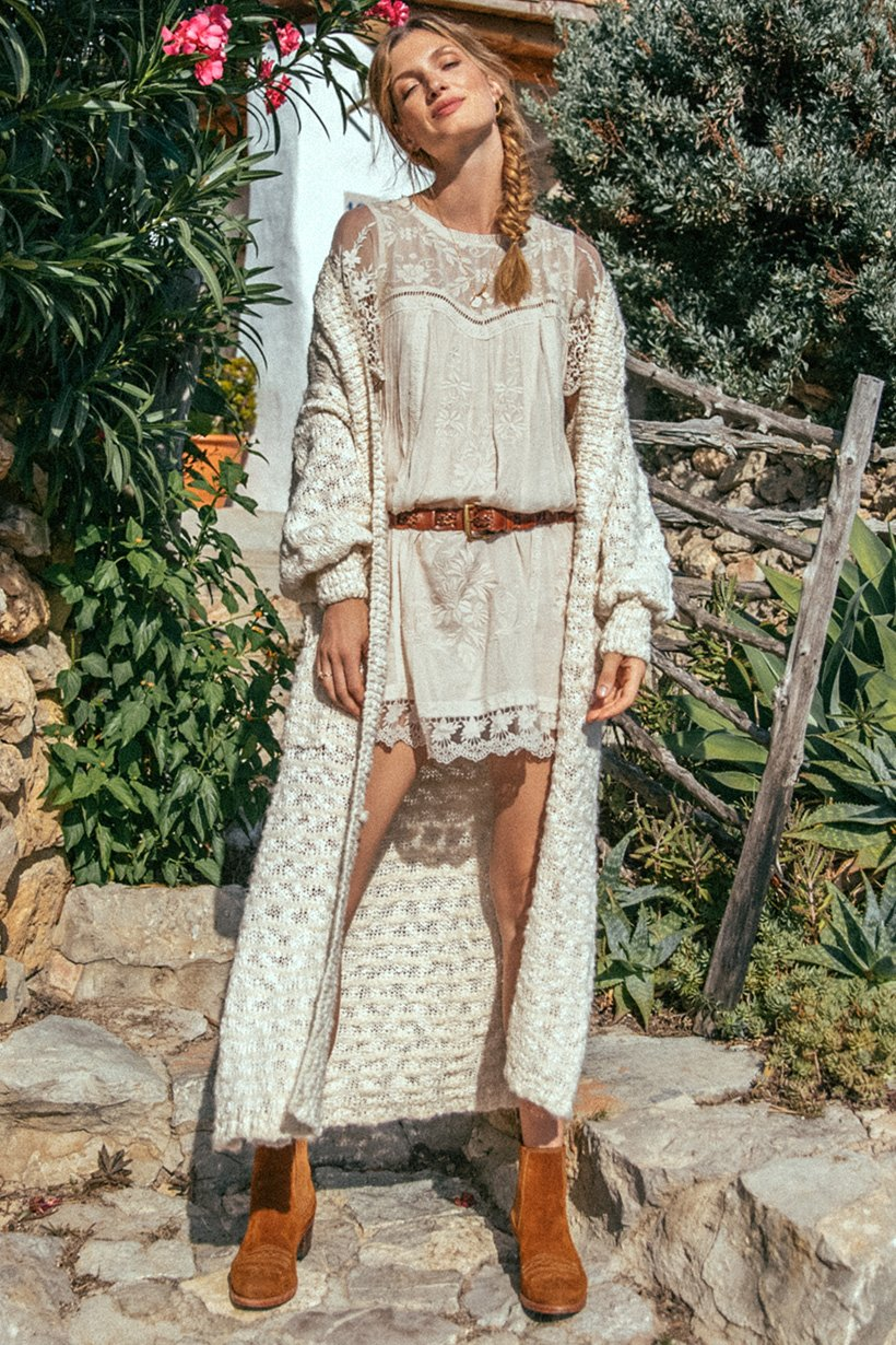 Maggie Embroidered Tunic Dress - Taupe