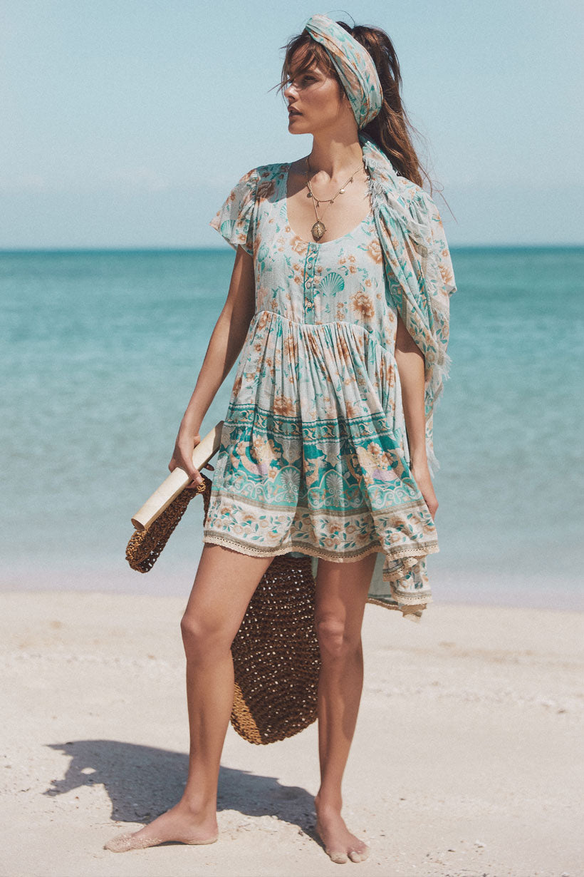Seashell Mini Dress - Seafoam
