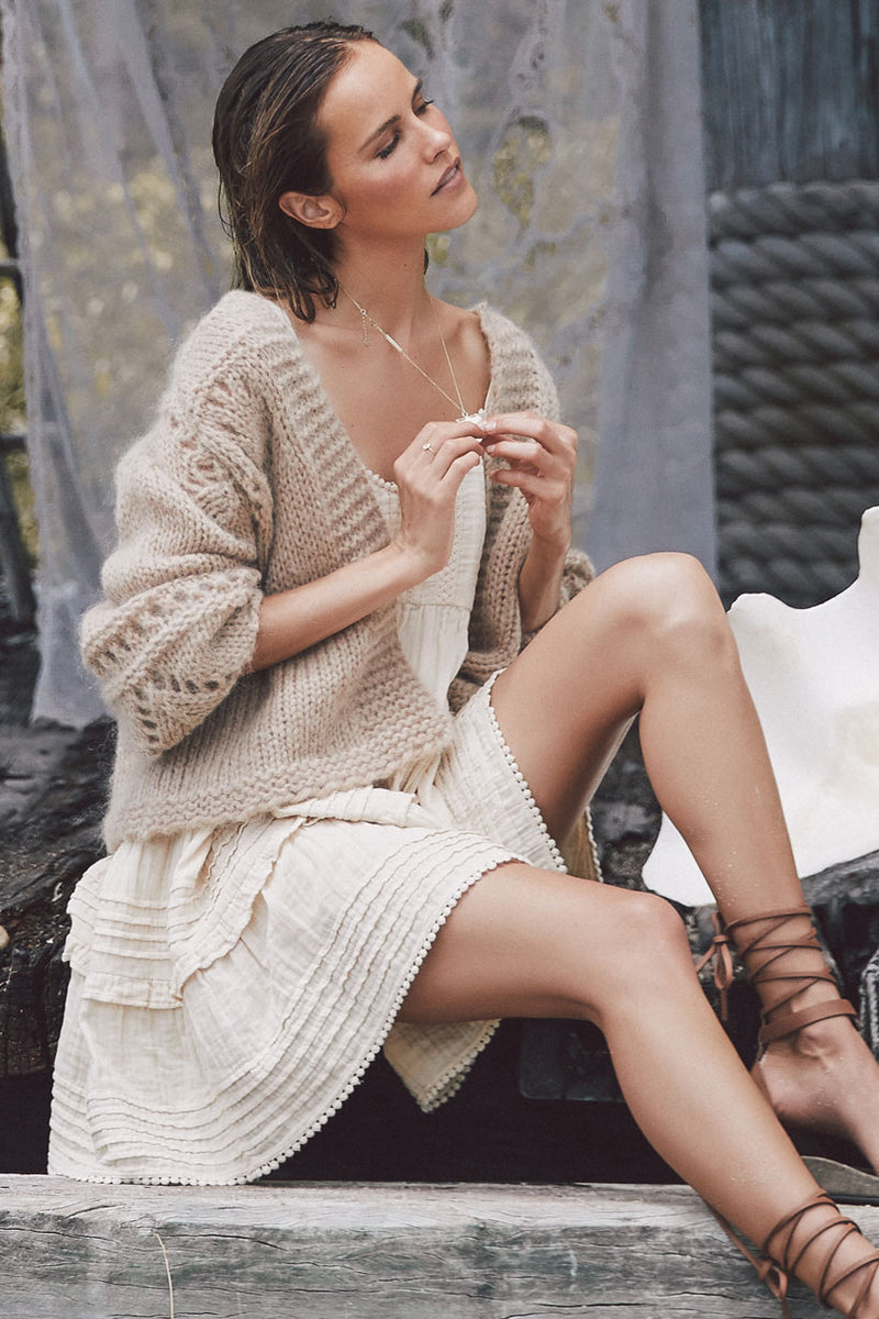Surf Shack Knit Cardigan - Taupe