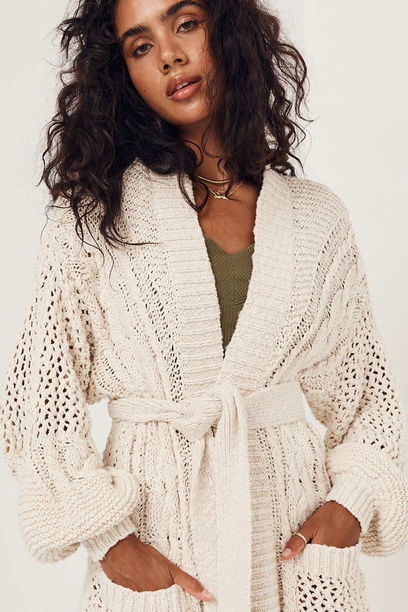 Taletha Cable Cardigan - Cream
