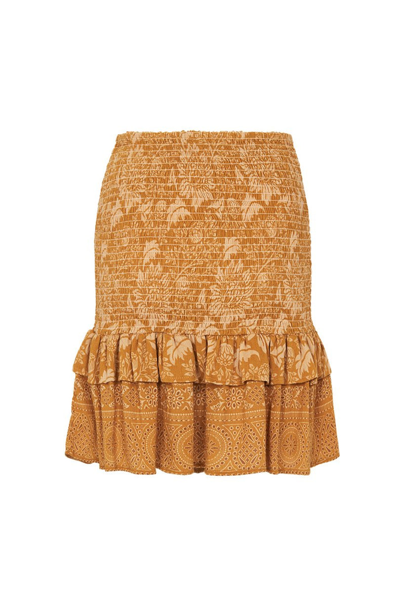 Lioness Ruched Mini Skirt - Caramel