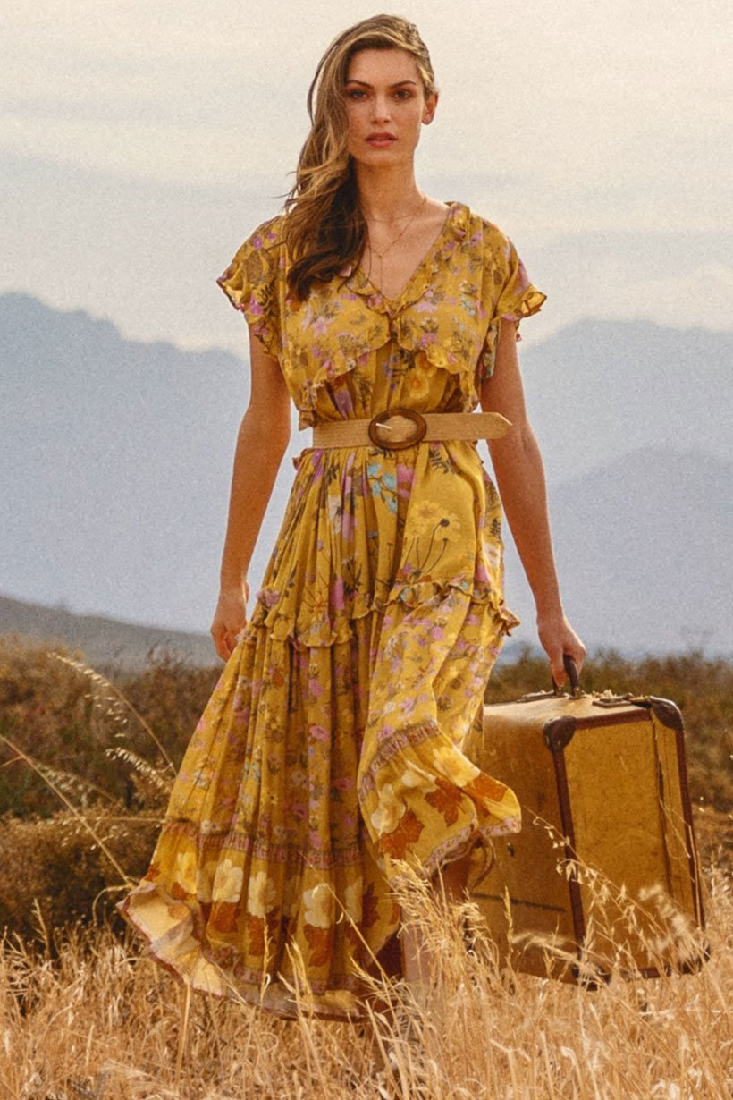 Wild Bloom Gown - Mustard
