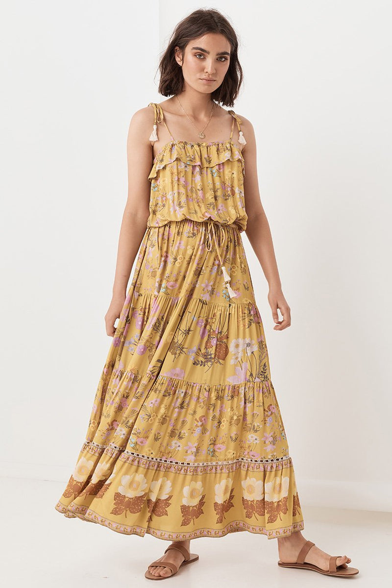 Wild Bloom Strappy Dress - Mustard