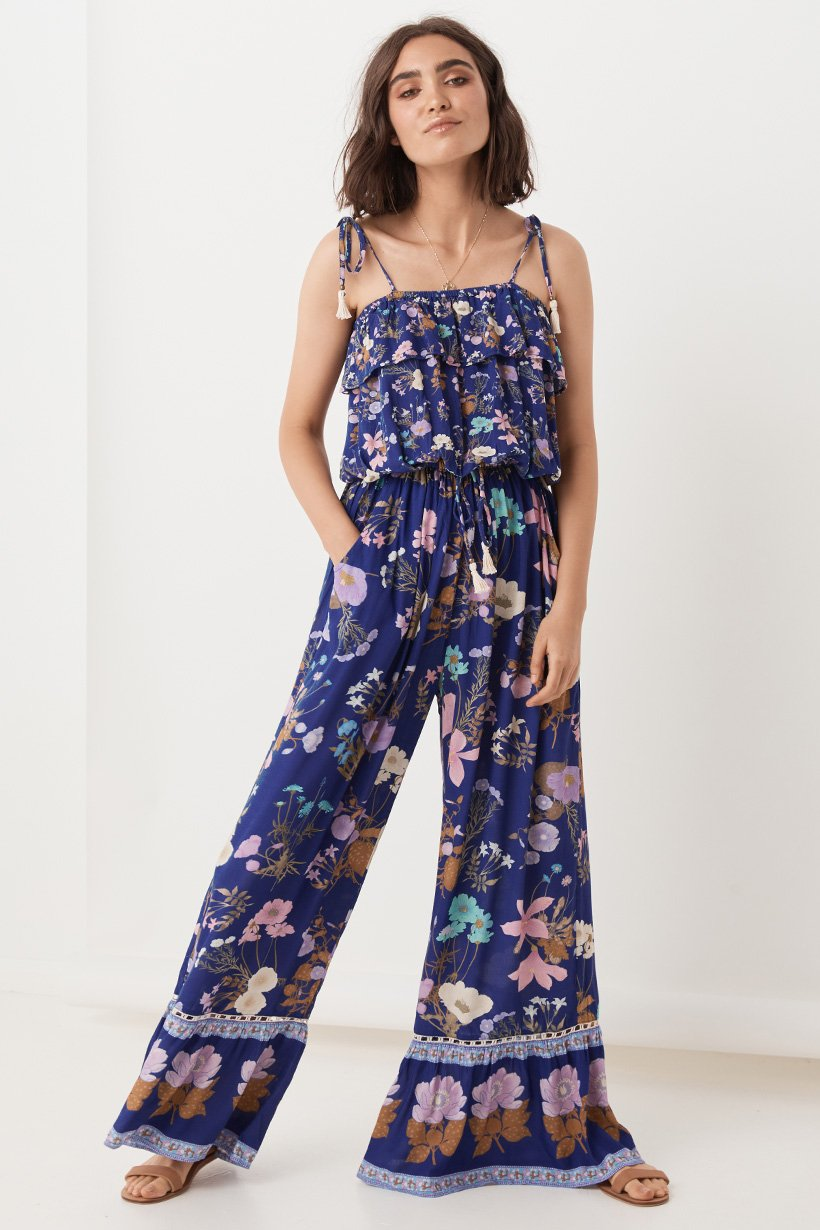 Wild Bloom Strappy Pantsuit - Navy