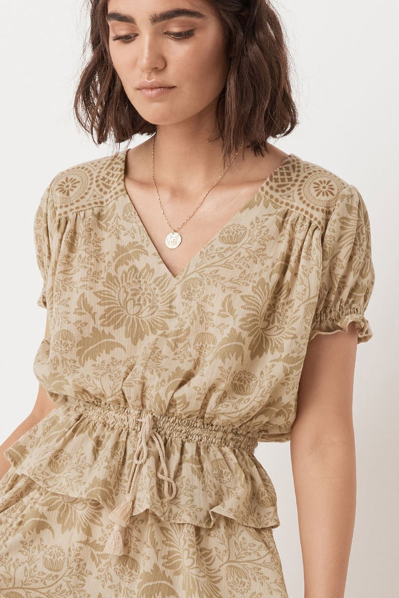 Lioness Cap Sleeve Blouse - Smoke (3696711467072)