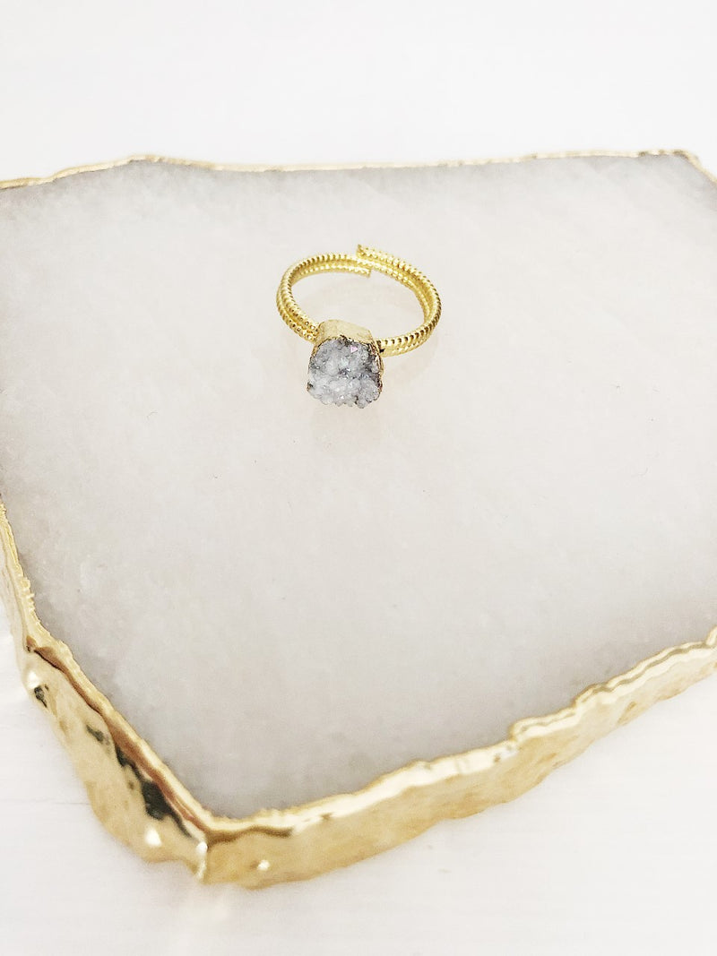 White Quartz Cluster Gold Ring (4311025975377)