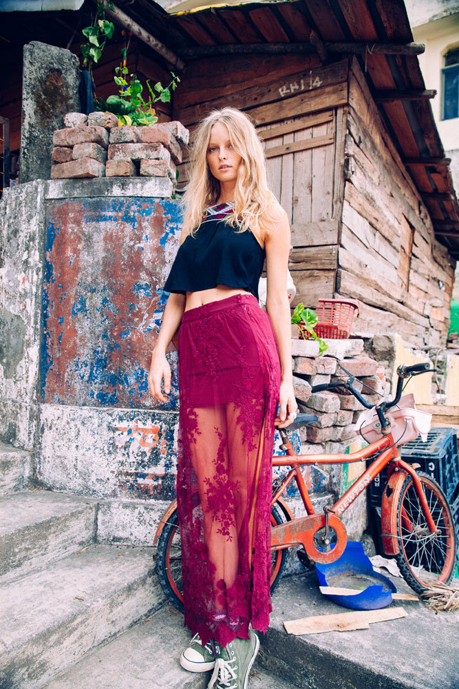 Maple Maxi Skirt -Maroon (2760570732608)