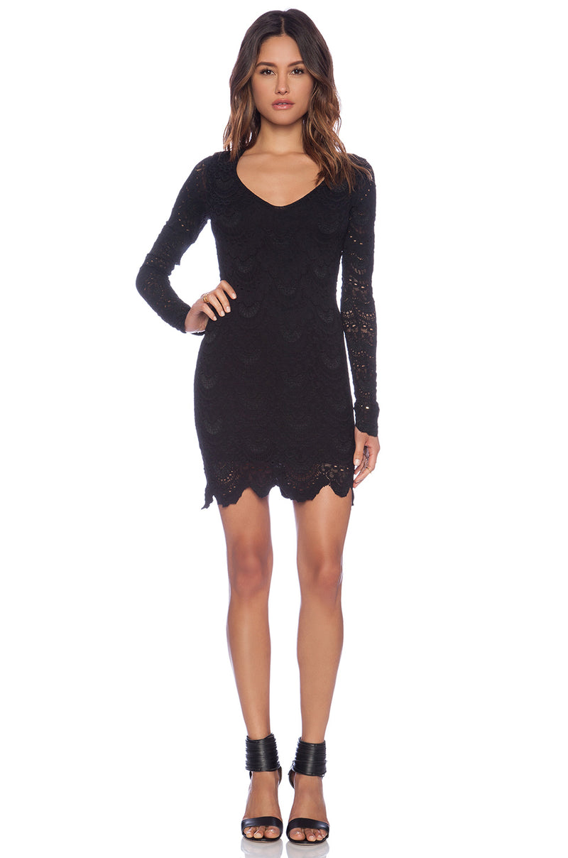 Deep V Spanish Lace Dress Black