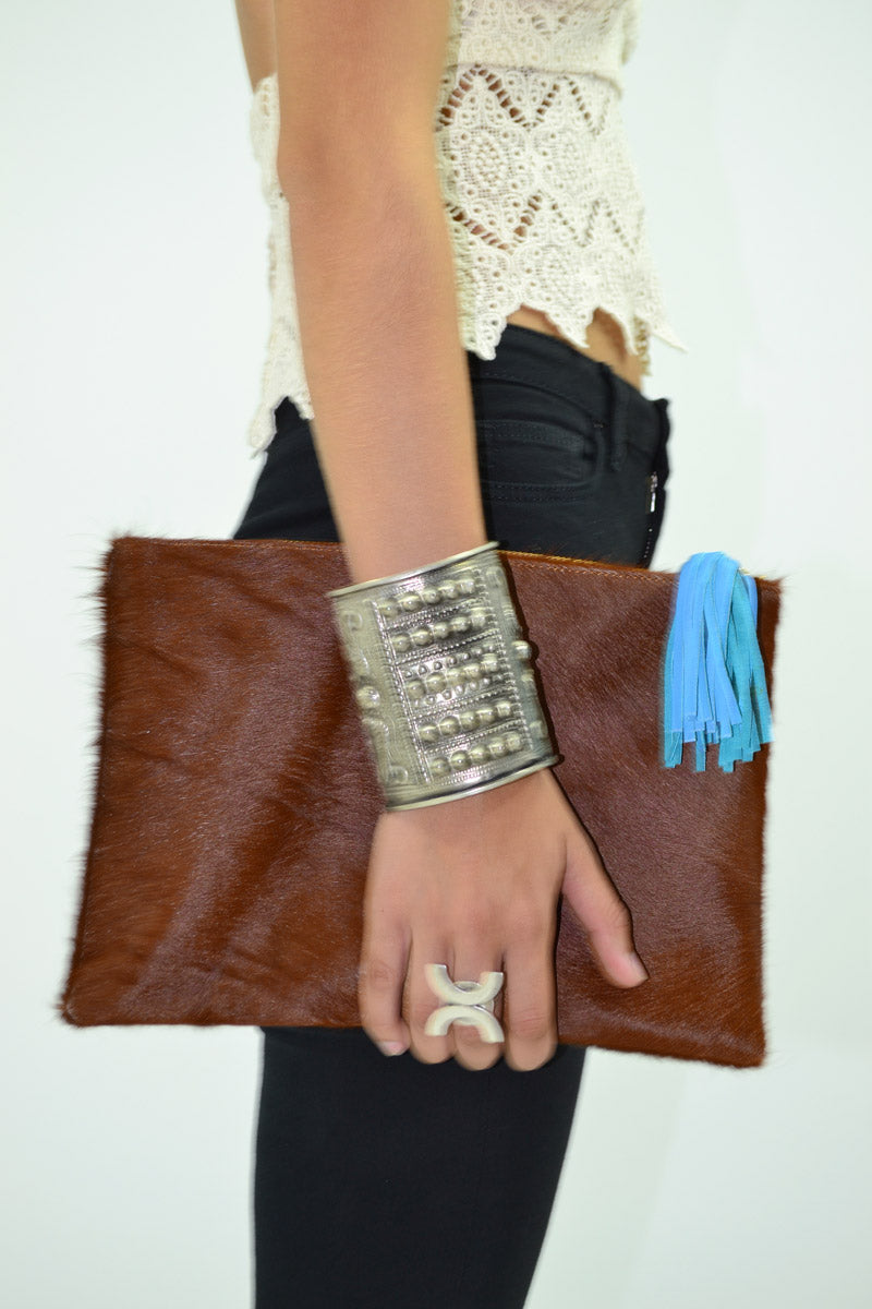 Hide Clutch in Brown