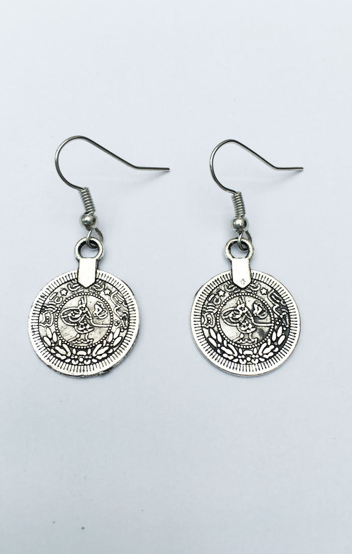 Izmir Coin Earrings - Silver