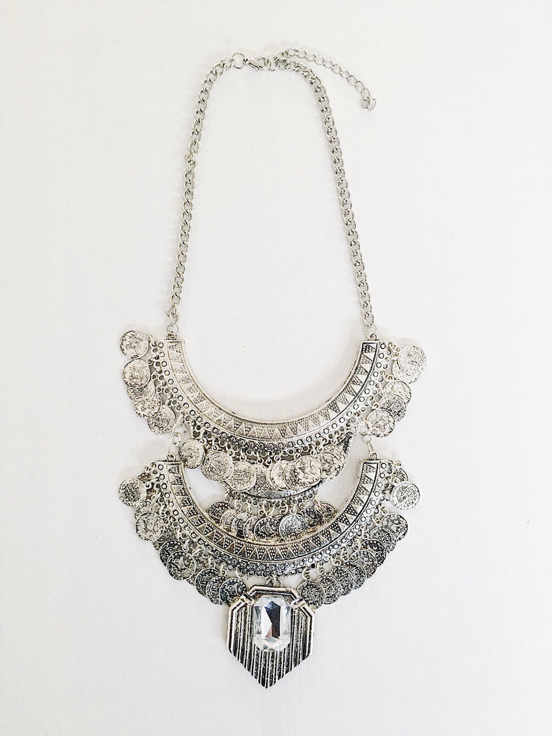 Erzin Ethnic Necklace - Silver (2762022813760)