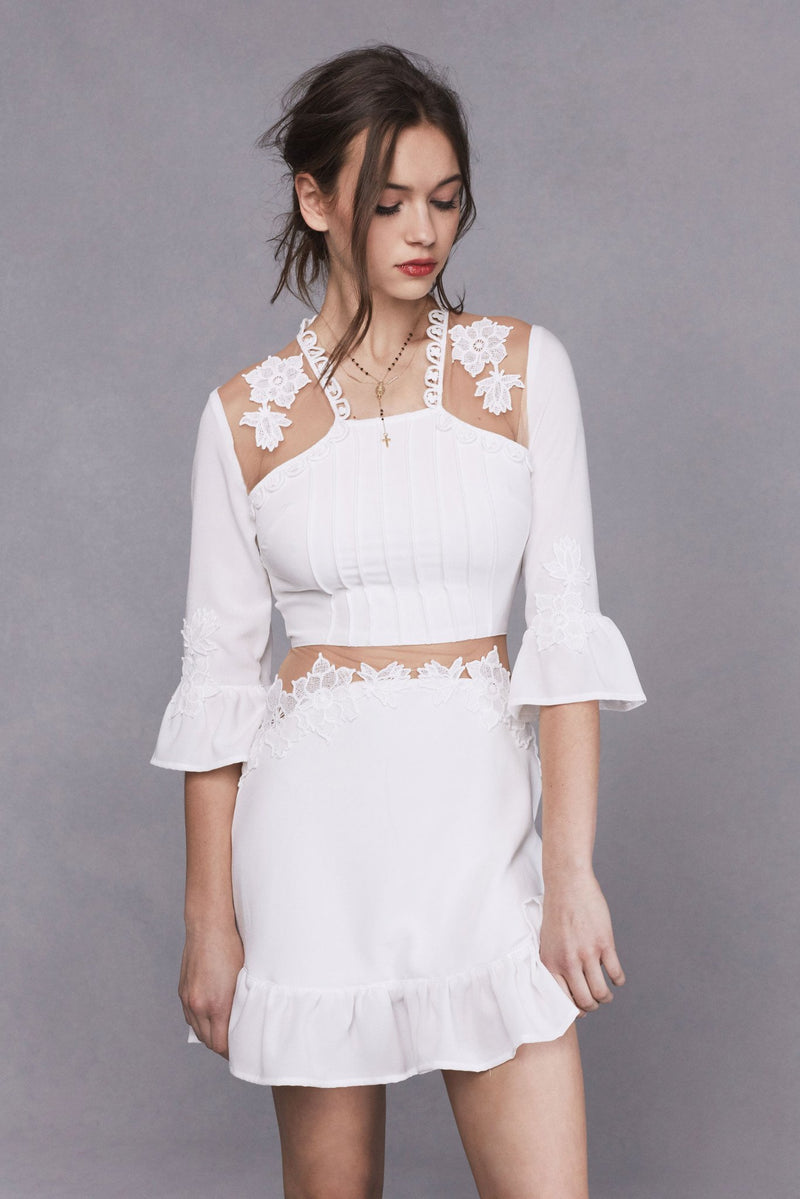 Lilou Applique Dress - White