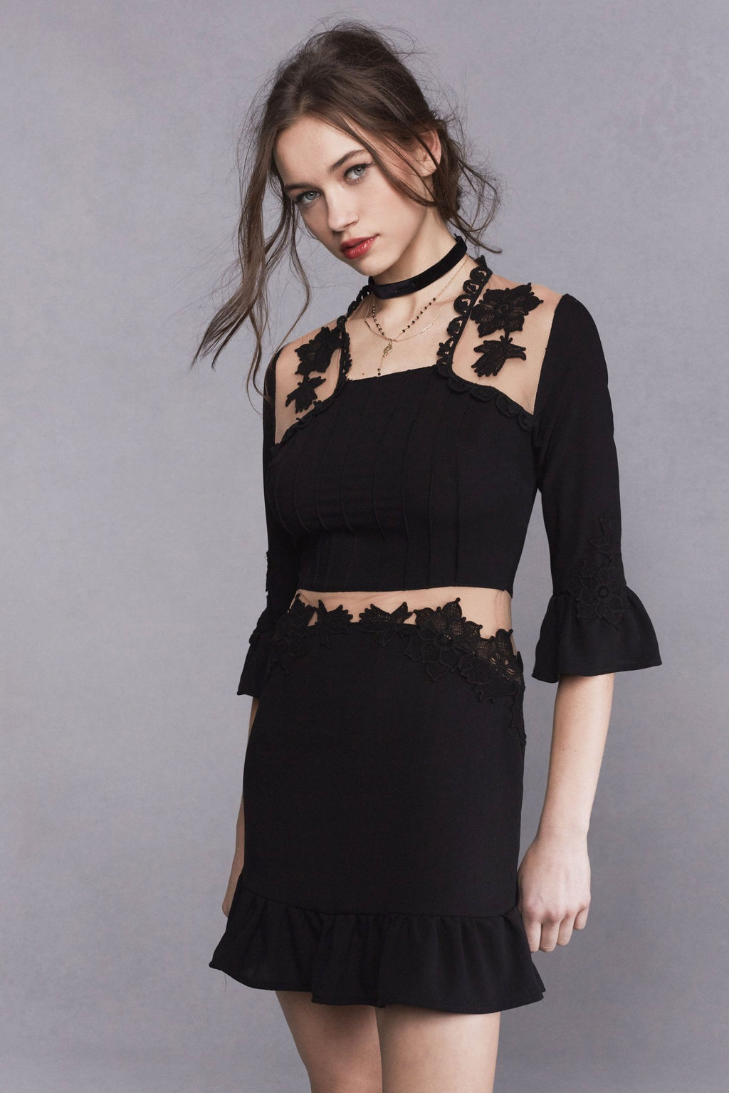 Lilou Applique Dress - Black