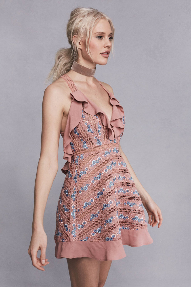 Percephone Embroidered Sleeveless Dress - Vintage Blush (2760883601472)