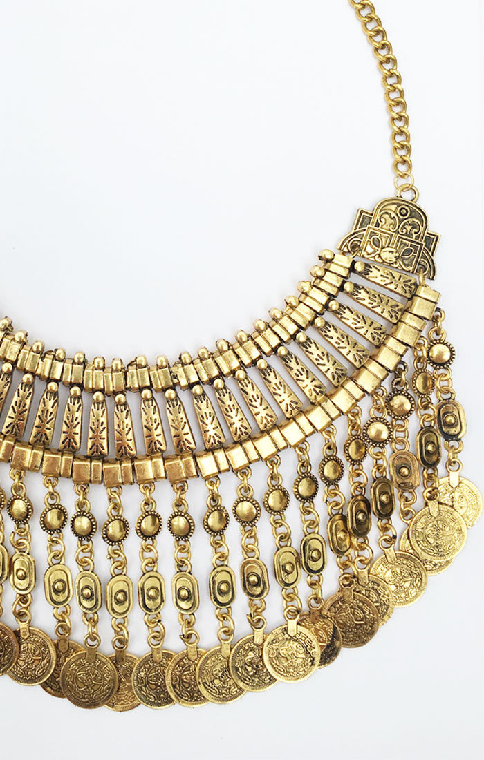 Izmir Long Coin Necklace - Gold