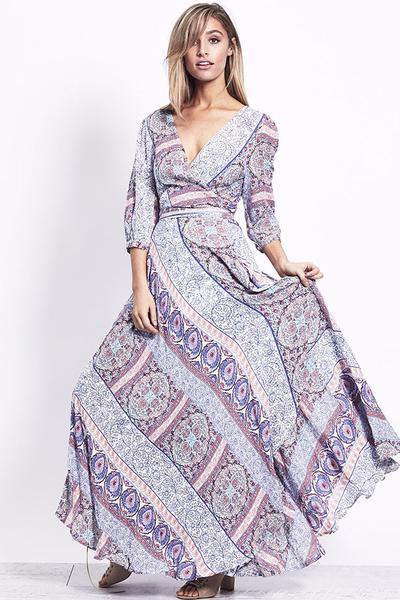 Layla Wrap Maxi Dress - Pastel Romance
