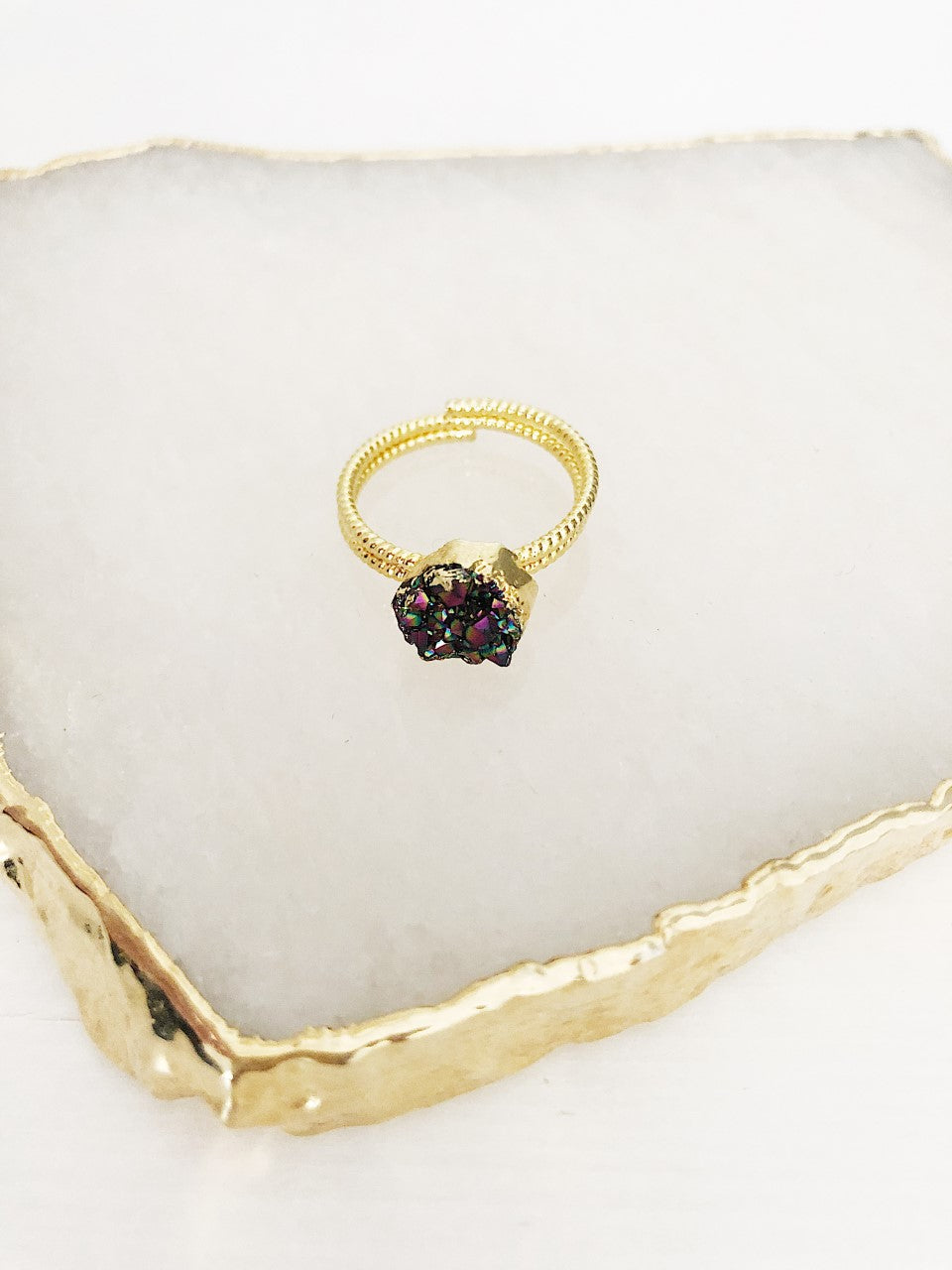 Purple Quartz Cluster Gold Ring