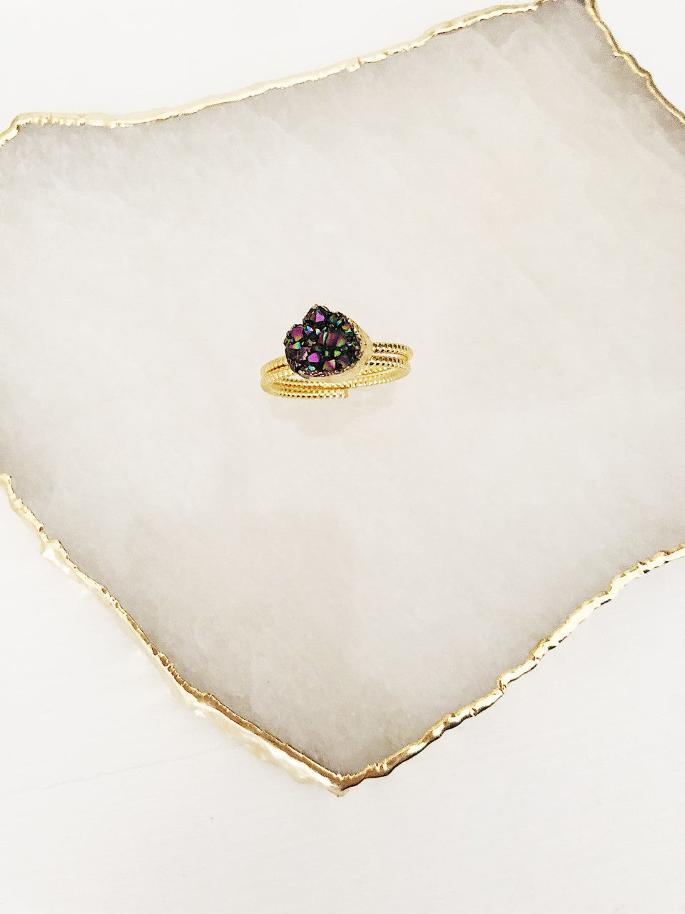 Purple Quartz Cluster Gold Ring (4311040491601)