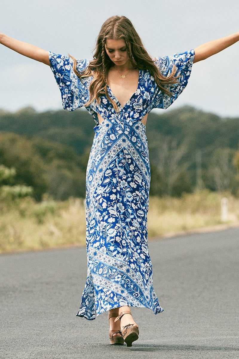 Lolita Cut Out Maxi Dress - Bluebell