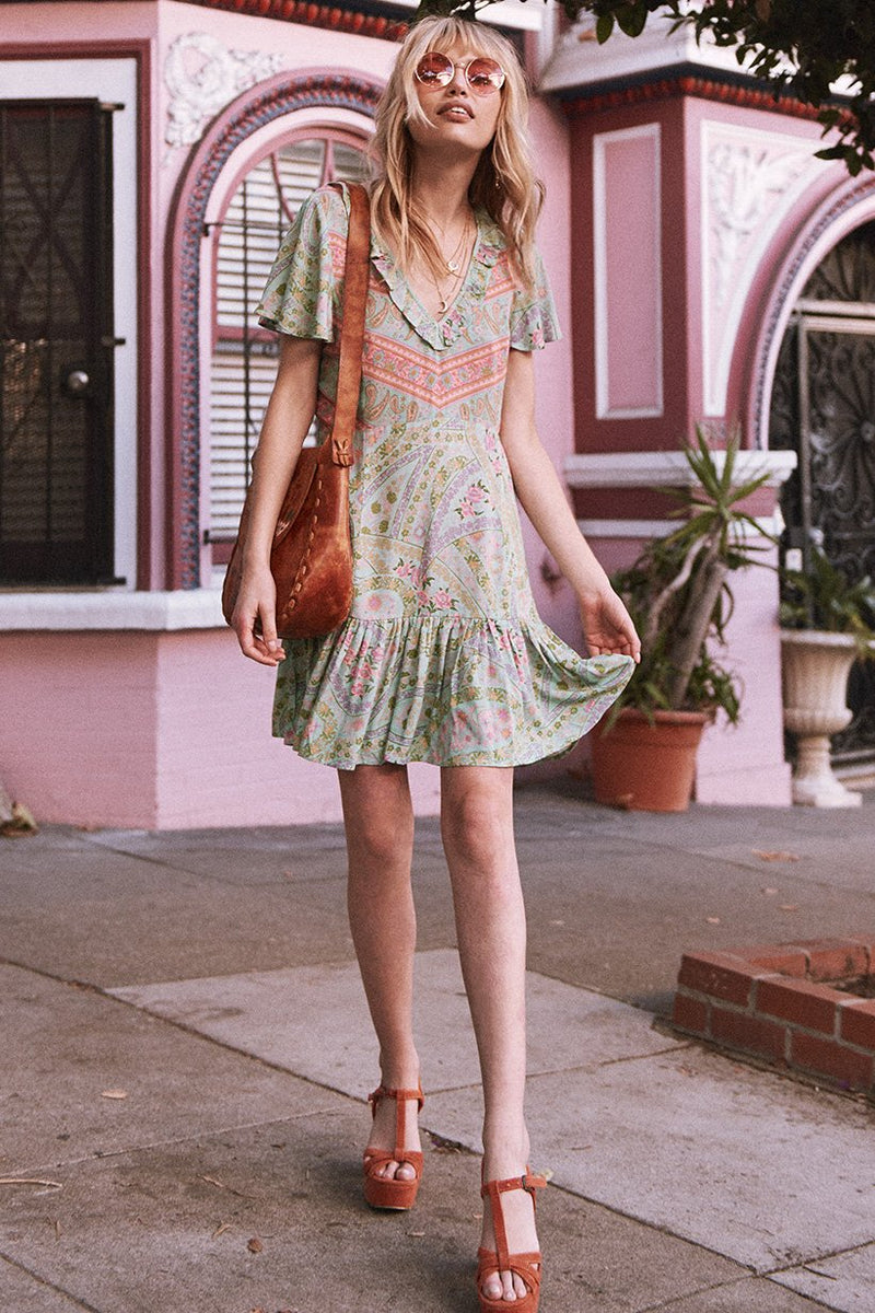 City Lights Mini Dress - Sage