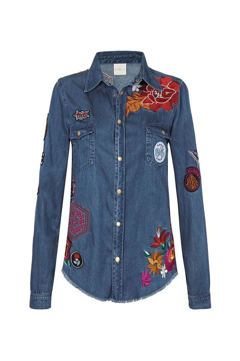 Flower Child Denim Shirt - Navy