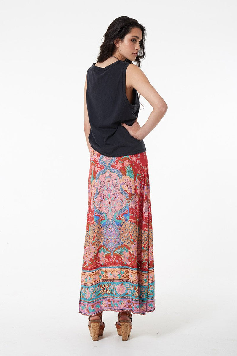 Lotus Maxi Split Skirt - Ruby (2761194831936)