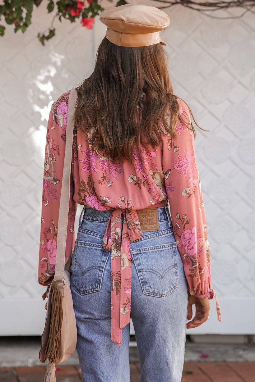 Rosa Wrap Blouse - Blush