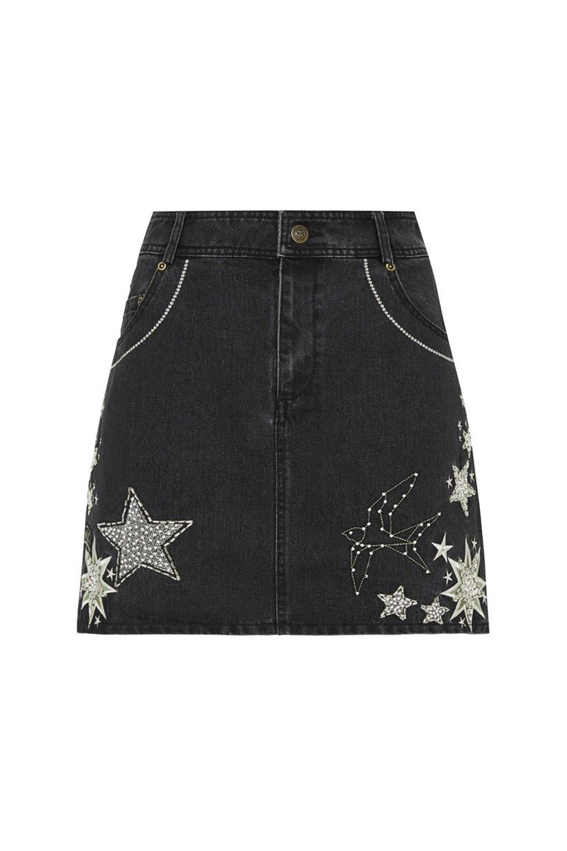 Celestial Embellished Denim Skirt (2761593159744)