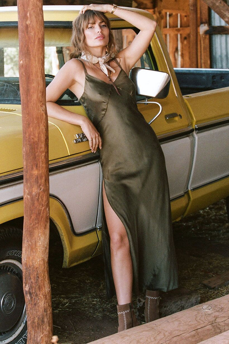 Cabin Love Silk Slip Dress - Olive (2761784918080)