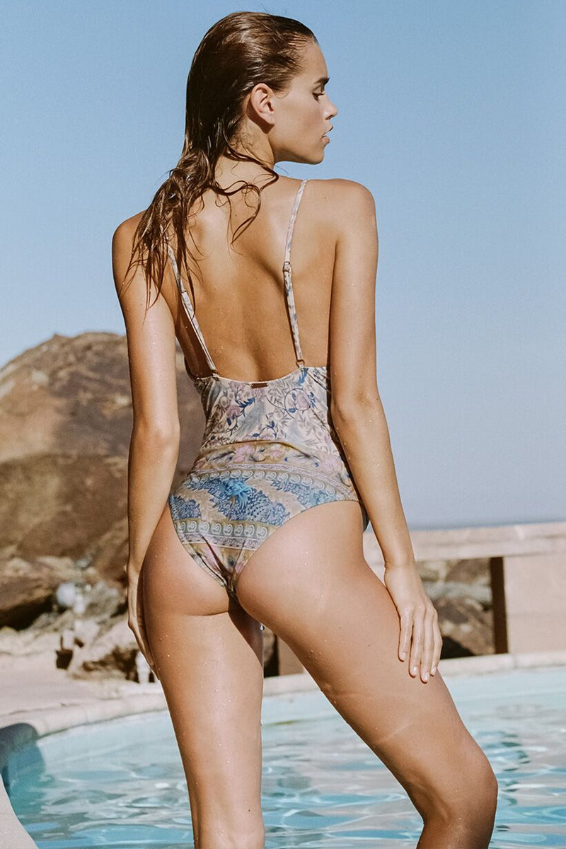 Oasis Lace Up One Piece - Opal (2761839476800)