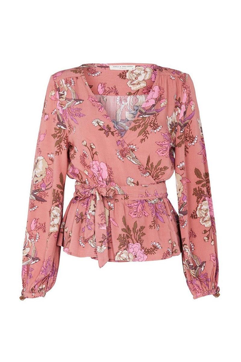 Rosa Wrap Blouse - Blush (2761673506880)