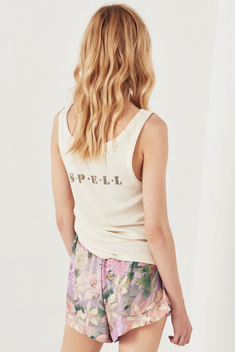 Spell ID Ribbed Tank - Turtle Dove